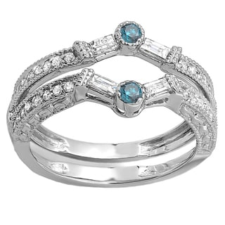 14k White Gold 1/2ct TDW Round and Baguette White and Blue Diamond Anniversary Wedding Enhancer Band (H-I, I1-I2)