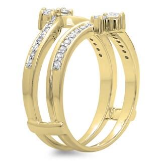 Elora 14k Gold 3/8ct TDW Round-cut White Diamond Anniversary Wedding Band Enhancer Guard Double Ring (H-I,