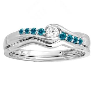 10k White Gold 1/4ct TDW Round Blue and White Diamond Bridal Promise Engagement Wedding Set Ring (H-I, I1-I2)