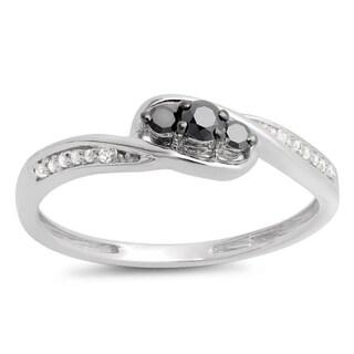 Elora 10k Gold 1/4ct TDW Round Black and White Diamond 3-stone Engagement Promise Ring (I-J, I2-I3)
