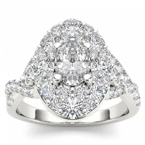 De Couer 14k White Gold 2 1/2ct TDW Oval Shape Diamond Halo Engagement Ring - White H-I