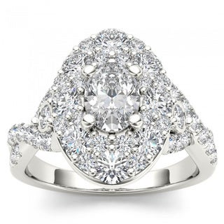 De Couer 14k White Gold 2 1/2ct TDW Oval Shape Diamond Halo Engagement Ring (H-I, I2)