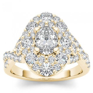 De Couer 14k Yellow Gold 2 1/2ct TDW Oval Shape Diamond Halo Engagement Ring (H-I, I2)