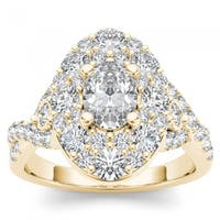 De Couer 14k Yellow Gold 2 1/2ct TDW Oval Shape Diamond Halo Engagement Ring