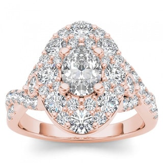 De Couer 14k Rose Gold 2 1/2ct TDW Oval Shape Diamond Halo Engagement Ring (H-I, I2)
