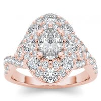 De Couer 14k Rose Gold 2 1/2ct TDW Oval Shape Diamond Halo Engagement Ring - Pink