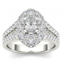 De Couer 14k White Gold 1 7/8ct TDW Oval Shape Diamond Halo Engagement Ring - White H-I