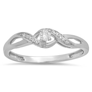 Elora 18k White Gold 1/5ct TDW Round Diamond Crossover Swirl Bridal Promise Promise Ring (I-J, I2