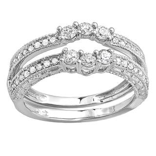 Elora 10k White Gold 5/8ct TDW Round Diamond Anniversary Wedding Band Enhancer Guard (H-I, I1-I2)