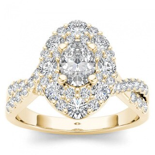 De Couer 14k Yellow Gold 1 3/4ct TDW Oval Shape Diamond Halo Engagement Ring (H-I, I2)