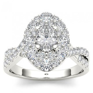 De Couer 14k White Gold 1 3/4ct TDW Oval Shape Diamond Halo Engagement Ring (H-I, I2)