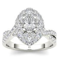 De Couer 14k White Gold 1 3/4ct TDW Oval Shape Diamond Halo Engagement Ring - White H-I
