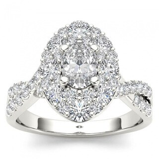 De Couer 14k White Gold 1 3/4ct TDW Oval Shape Diamond Halo Engagement Ring - White H-I