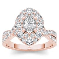 De Couer 14k Rose Gold 1 3/4ct TDW Oval Shape Diamond Halo Engagement Ring - Pink