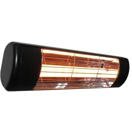 Sunheat International Black Outdoor Wall Mounted Heater 1500watt 120 v 3 Prong Plug with Gold Lamp
