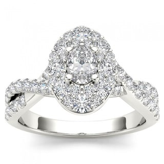 De Couer 14k White Gold 1 1/4ct TDW Oval Shape Diamond Halo Engagement Ring (H-I, I2)
