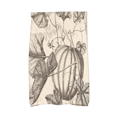 16 X 25-inch Antique Pumpkin Holiday Floral Print Hand Towel