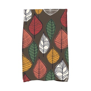 16 X 25-inch Autumn Leaves Floral Print Hand Towel (Option: Almond)