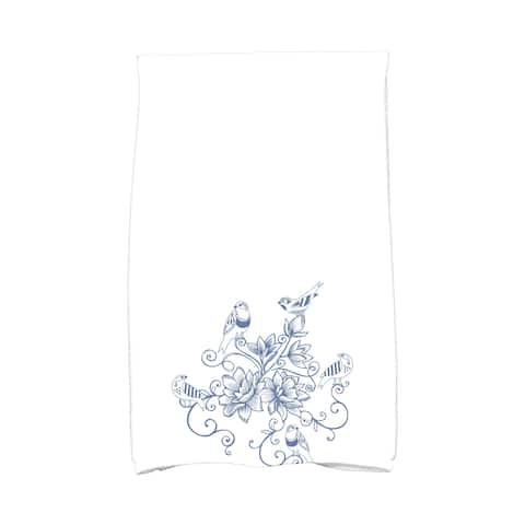 16 X 25-inch Five Little Birds Floral Print Hand Towel