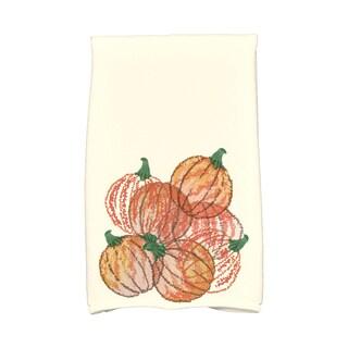 16 X 25-inch Pumpkin Pile Holiday Geometric Print Hand Towel