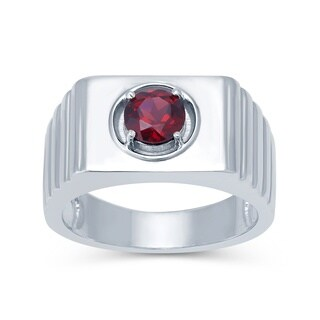Sterling Silver Choice of Gemstone Solitaire Men's Ring