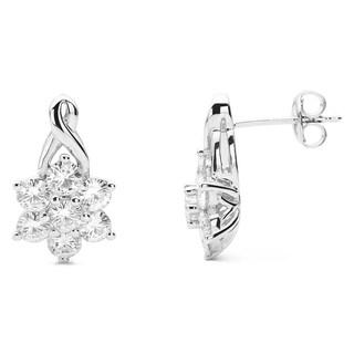 Charles & Colvard Sterling Silver 0.60 TGW Forever Classic Moissanite Cluster Earrings