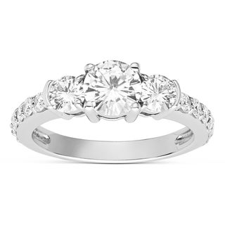Charles & Colvard Sterling Silver 1.62 TGW Moissanite Forever Classic 3-stone Ring with Side Accents