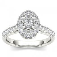 De Couer 14k White Gold 1 1/4ct TDW Oval Shape Diamond Halo Engagement Ring - White H-I