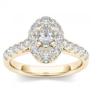 De Couer 14k Yellow Gold 1 1/4ct TDW Oval Shape Diamond Halo Engagement Ring (H-I, I2)