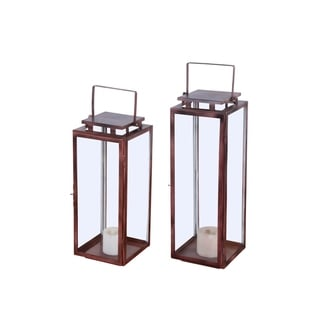Alliyah Handmade Clear Iron Lanterns With Italian Wood Finish (Set of 2)