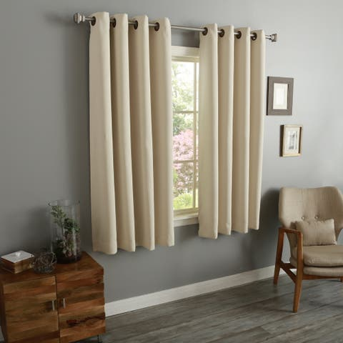 "Aurora Home 54 Inch Thermal Insulated Blackout Grommet Top Curtain Panel Pair - 52""w x 54""l each"