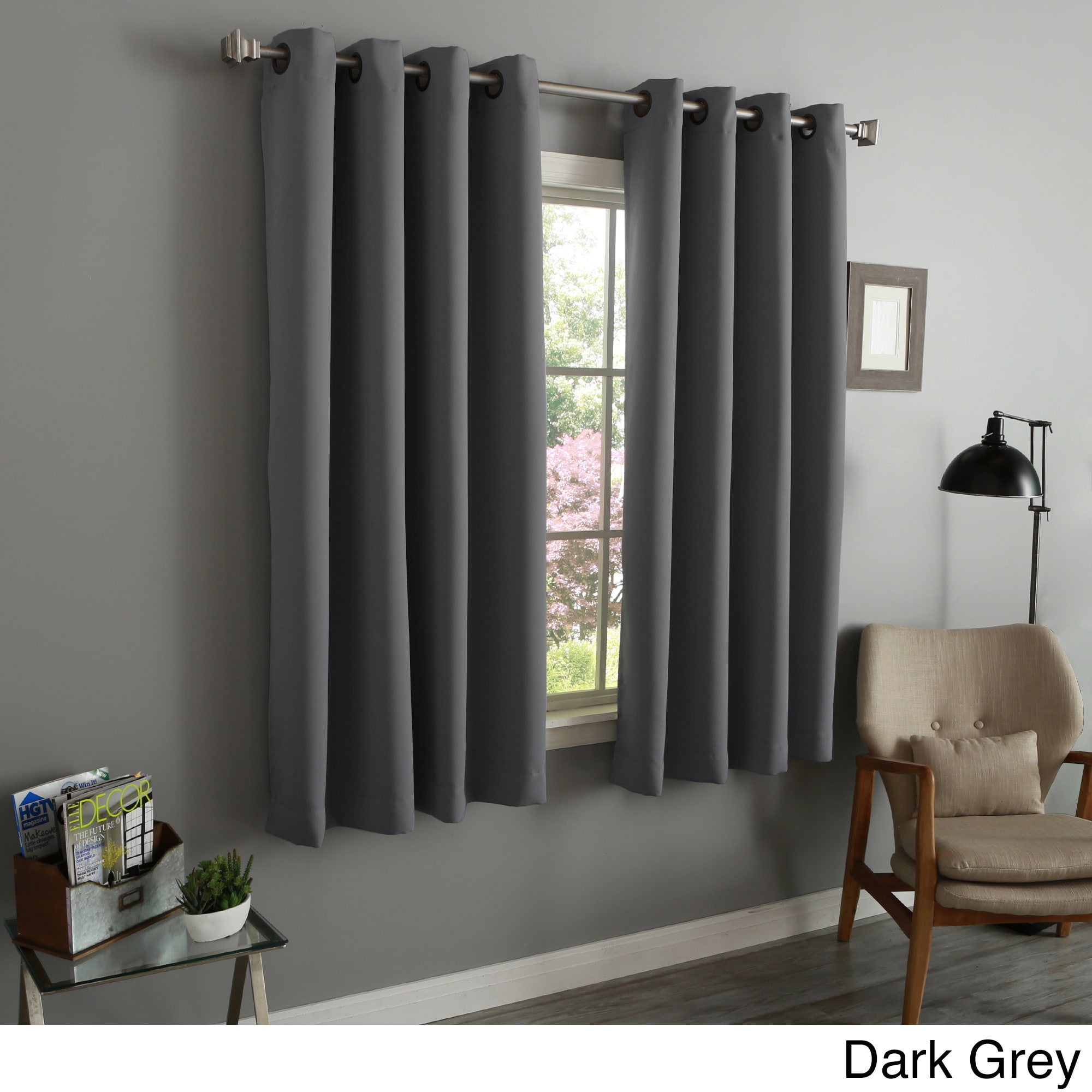 aurora home 54 inch thermal insulated blackout grommet top curtain panel pair ebay. Black Bedroom Furniture Sets. Home Design Ideas
