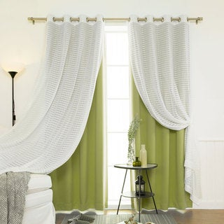Aurora Home MIX & MATCH CURTAINS Blackout and Check Sheer 84-inches Silver Grommet 4-piece Curtain Panel Pair