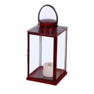 Alliyah Handmade Red Lantern with Black Leather Handle