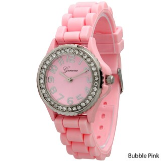 Simple Silicone & Rhinestone Watch (Option: BubblePink)
