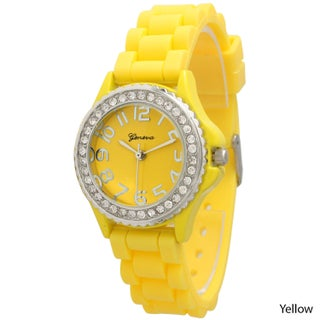 Simple Silicone & Rhinestone Watch (Option: Yellow)