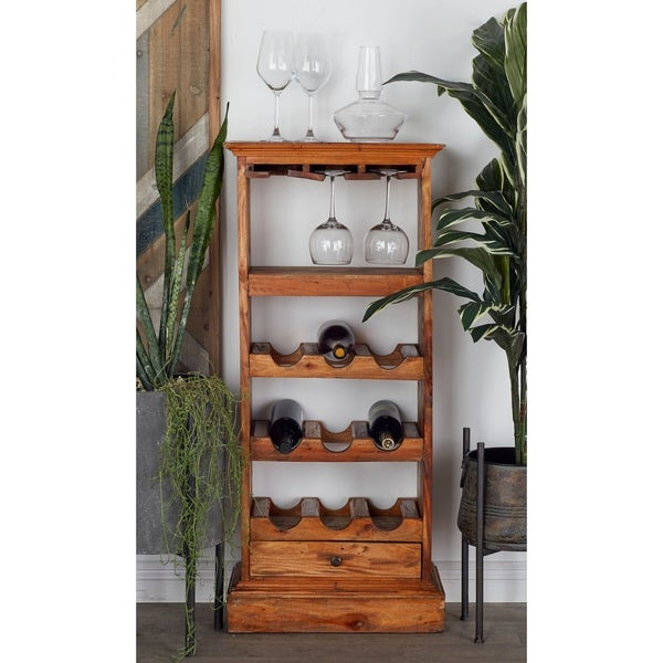 Rustic 44 x 19 Inch Wood Wine Cabinet with Stemware Rack by Studio 350