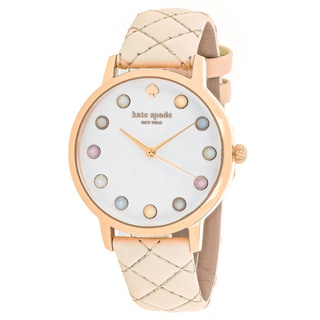 Kate Spade Women's KSW1069 Metro Round White dial Leather strap Watch