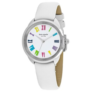 Kate Spade Women's KSW1092 Crosstown Round White dial Leather strap Watch