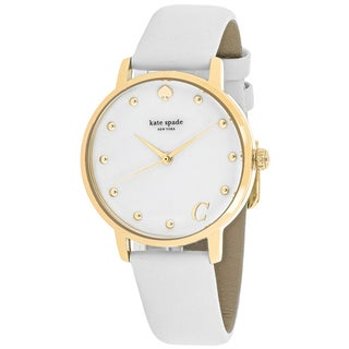 Kate Spade Women's KSW1099C Metro Round White MOP dial Leather strap Watch
