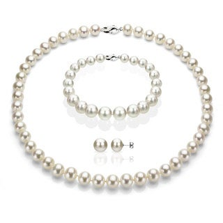 DaVonna Sterling Silver Freshwater Pearl Jewelry Set (6-7mm)