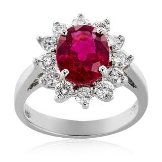 14K White Gold Pink Tourmaline Diamond Ring
