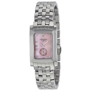 Longines Women's L51554936 Dolce Vita Rectangle Pink MOP dial Stainless steel bracelet Watch