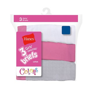 Hanes Girls' Cotton No-ride-up Briefs (Pack of 3 Colors)