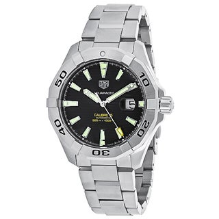 Tag Heuer Men's WAY2010.BA0927 Aquaracer Round Black dial Stainless steel bracelet Watch