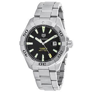 Tag Heuer Men's WAY2010.BA0927 Aquaracer Round Black dial Stainless steel bracelet Watch