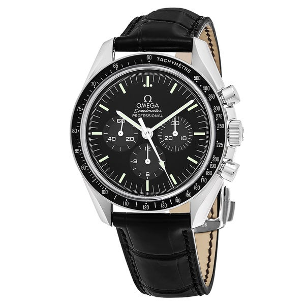 913250d09252 Shop Omega Men s Speedmaster Moonwatch Round Black dial Leather strap Watch  - Free Shipping Today - Overstock - 12312224