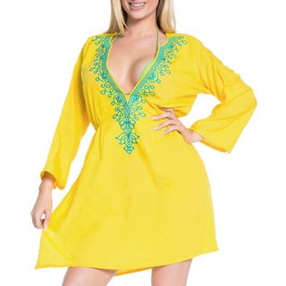 La Leela Women's Yellow Rayon Deep V-neck Embroidered 2-in-1 Short Dress/Cover up