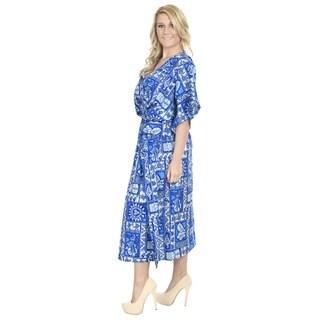 La Leela Smooth Women's Blue Likre Tropical Coverup Dress