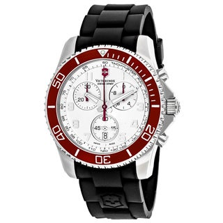 Swiss Army Men's 241433 Classic Round Silver dial Rubber strap Watch